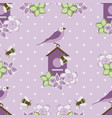 seamless pattern with purple flowers and birds on vector image vector image