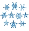 Set blue winter snowflakes on white background vector image vector image