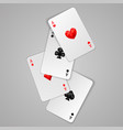 set four aces playing cards suits poker game vector image vector image