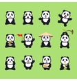 set of cute funny cartoon pandas vector image