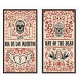 set of dead day banner template sugar skulls vector image