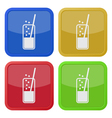 set of four square icons - glass drink and straw vector image vector image