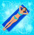 smiling girl on air mattress in pool water vector image