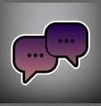 speech bubbles sign violet gradient icon vector image vector image