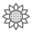 sunflower line icon nature and floral vector image