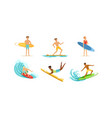 surfing young men collection male surfers vector image vector image