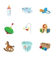 Toys for kids icons set cartoon style