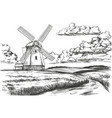 windmill in field countryside summer vector image