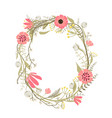 wreath with flowers decoration vector image vector image