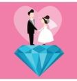 man woman married wedding bride cartoon with blue vector image
