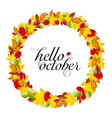 autumn design wreath of colorful leaves vector image