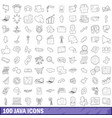 100 java icons set outline style vector image