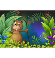 A beaver holding a piece of wood in the garden vector image