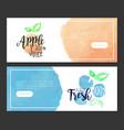 apple fresh juice banner template set sweet vector image vector image
