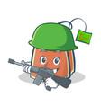 army tea bag character cartoon vector image vector image