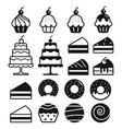 bakery cakes icons set