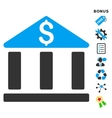 Bank Office Building Flat Icon With Bonus vector image vector image