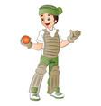 baseball keeper with ball vector image vector image
