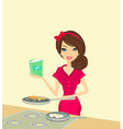 Beautiful housewife cooking vector image