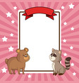 beauty bear and raccoon card decoration vector image