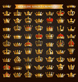 big set golden crown icons vector image vector image