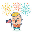 boy with flaf usa vector image vector image