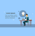 business man sit at office desk working on laptop vector image vector image