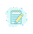 cartoon colored document with pencil icon in vector image