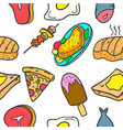 collection stock of food various doodle set vector image vector image