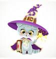 cute cartoon baby cat in wizards hat and cloak vector image vector image