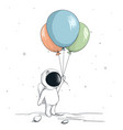 cute spaceman keeps a balloons vector image vector image