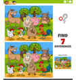 differences educational game with farm animal vector image vector image