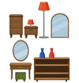 different furnitures made of wood vector image