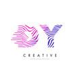 dy d y zebra lines letter logo design with vector image