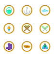 fishing icon set cartoon style vector image vector image