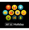 Flat icons set 12 - holiday collection vector image vector image
