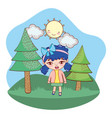 girl outdoors cartoon vector image vector image