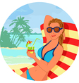Girl with cokctail on the beach vector image vector image