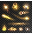 Golden sparkling light trails and flashes vector image vector image