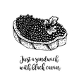 Hand drawn sandwich with black caviar vector image vector image