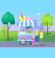 ice cream stand and family vector image vector image