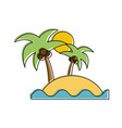 island with palm tree and sea icon image vector image vector image