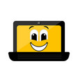 isolated happy laptop emote vector image vector image