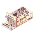 isometric restaurant interior cross-section vector image