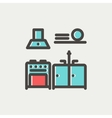 Kitchen interior thin line icon vector image vector image