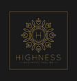 letter h logo with classic and luxurious line art vector image vector image
