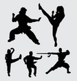 martial art action silhouette vector image vector image