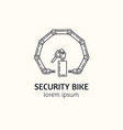 modern linear style bicycle security logotype vector image vector image
