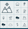 nature icons set collection of oak raindrop vector image vector image