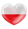 poland flag love heart vector image vector image